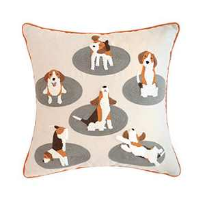 Hahadidi Throw Pillow Cover 18 x 18 Inch (45x45cm) Embroidered with Cute Pet Dog Charcoal Grey Canvas Edge Cotton Cushion Cover (No Pillow Insert) for Sofa Bedroom Couch,1 Piece
