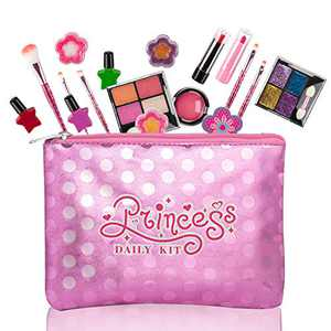 EFOSHM Kids Makeup Kit for Girl Washable Makeup Set with Cosmetic Bag, Play Make Up Toys Birthday Christmas Teen Girl Gifts