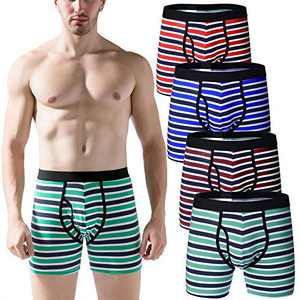 Mens Regular Leg Boxer Briefs Breathable Cotton Open Fly Underwear for Man Pack (Mixed/Fly, Medium)