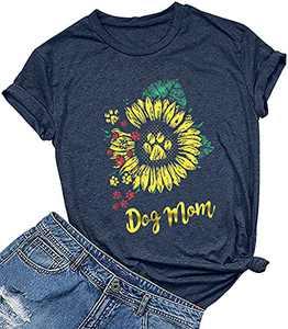 KIDDAD Womens Dog Mom Sunflower Funny T-Shirt Dog Paws Graphic Short Sleeve Loose Tee Top Dark Blue