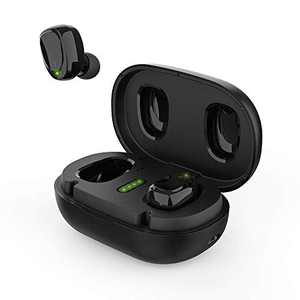 BNCHI True Wireless Earbuds Bluetooth 5.0 Headphones in Ear with Metal Charging Case,Super Stereo,Noise Cancellation Mic, Touch Control, 42 Hours Playback for iPhone and Android(Black)
