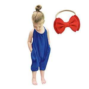 Baby Romper Summer Jumpsuits for Girls Kids Backless Harem Strap Romper Jumpsuit Toddler Pants Free Hairband Blue
