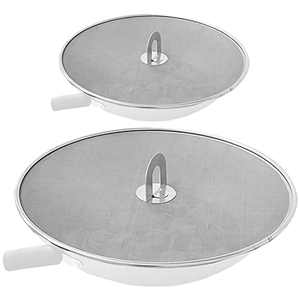 """Snowyee Splatter Screen for Frying Pan, Grease Splatter Guard Stainless Steel Large 13"""" and Small 10"""" Shield (2 in 1 Set)"""