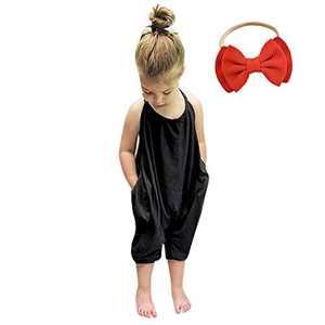 Baby Romper Summer Jumpsuits for Girls Kids Backless Harem Strap Romper Jumpsuit Toddler Pants Free Hairband Black