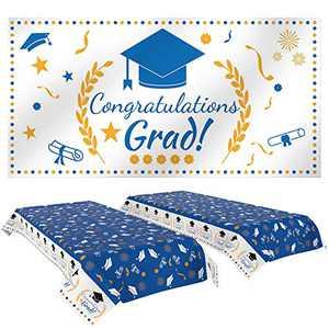 "Eaaglo Graduation Party Decorations,Graduation Party Tablecover 2 Pack (107""x 54"") and Graduation Party Banner 1 Pack (70.8""x42.9"") Graduation Party Supplies 2021 (Blue)"