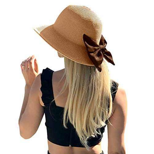 Womens Beach Sun Hat Floppy Straw Summer Classics Sun Visor Hat UV UPF50 Travel Foldable Wide Brim Summer UV Hat Brown