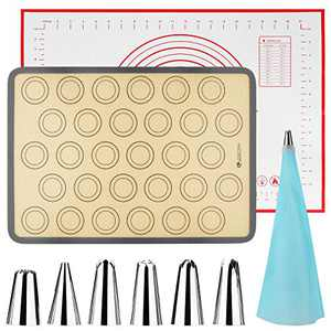 Large Non-Stick Pastry Mat and Large Silicone Baking Mat with 7 PCs Cake Piping Tips set, cookies Mat, Fondant Mat, Silicone Non Slip mat for Rolling Dough