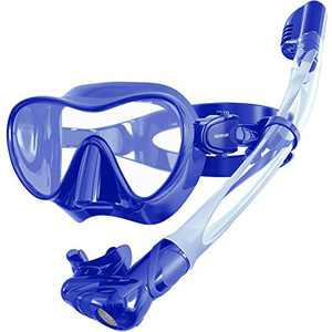 Keystand Snorkel Mask, Foldable Snorkel Set Snorkeling Gear, Detachable Free Breathing Snorkeling Packages, Anti Fog Anti Leak Tempered Glass, Scuba Mask Snorkel Gear for Adults Youth Kids