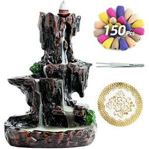 VVMONE Mountain Incense Holder with 150 Cones, Waterfall Backflow Incense Burner, Aromatherapy Ornament, Zen Decor, Home Decor, Room Decor