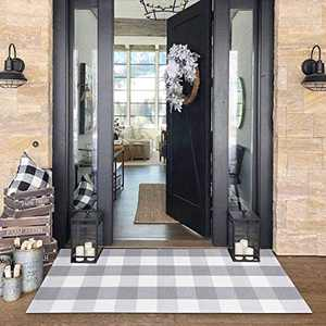 Buffalo Plaid Check Outdoor Rug Grey 2' x 4.3' Farmhouse Rug Hallway Runner Checkered Washable Runner for Laundry/Bathroom/Bedroom
