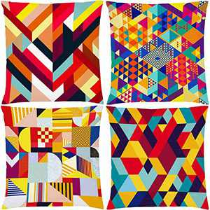 """AOKDEER Geometric Decorative Pillow Covers, Boho Indoor Outdoor Lumbar Couch Throw Pillow Covers 18"""" x18"""", Modern Decorations Colorful Color Plaid Xmas Pillow Cases for Living Room Bed Sofa Set of 4"""