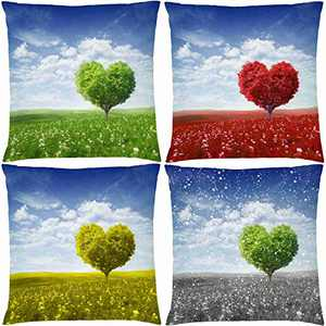 AOKDEER Heart Tree Decorative Throw Pillow Covers 18x18 Inch, Double-Sided Printing Four Seasons Tree Pillow Cushion Covers Patio Decorations Outdoor Pillow Cases for Sofa Couch Room Decor, Set of 4
