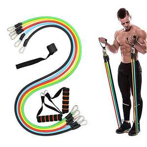 Resistance Bands Set LEILUO 5 Pcs Workout Bands with Door Anchor Handles and Ankle Straps Stackable Up to 100 lbs Exercise Bands for Resistance Training Physical Therapy Home Workouts
