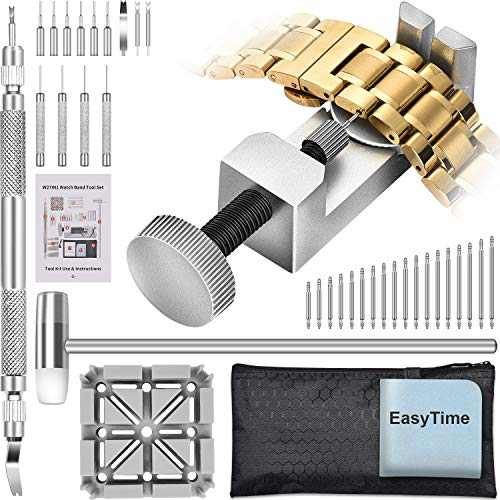 Watch Band Tool Kit - Watchband Link Remover Tool, Spring Bar Tool Set for Watch Repair and Watch Band Replacement with Small Hammer, Professional Watch Strap Remover Repair Tool, 108PCS Spring Bar