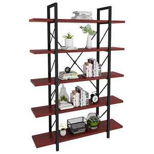 YITAHOME 5 Tier Bookcase, Artsy Modern Bookshelf, Book Rack, Storage Rack Shelves in Living Room/Home/Office, Books Holder Organizer for Books/Movies - Cherry