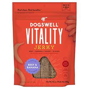 DOGSWELL Vitality Beef & Banana Jerky - Meaty Dog Treats with Banana, Honey & Ginger to Support Overall Health & Vitality - 10 oz.