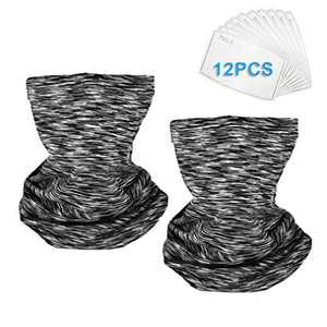 Neck Gaiter Face Scarf Elastic Neck Cover Breathable Face Cover Bandana for Dust Sports Outdoor (2PCS Grey)