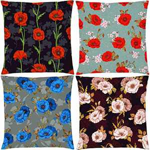AOKDEER Poppy Throw Pillow Cover Sofa Pillows Decorative Sets of 4 Double-Sided Printing Colorful Red Poppy Flower Pillow Case Standard Size for Sofa Bed Home Decor 18 x 18 Inch