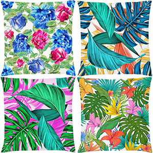 AOKDEER Tropical Leaves Outdoor Throw Pillow Covers 18x18 Inch, Double Sided Hawaii Leaves Green Pillow Cases Square Cushion Covers Decorative Throw Pillow Covers for Couch Sofa Room Decor, Set of 4