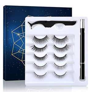 5 Pairs Lashes and Eyeliner Set Upgraded Reusable Waterproof Eyeliner and 3D False Lashes with Tweezer Kit