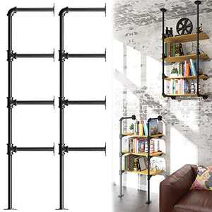 YITAHOME 4 Tier DIY Pipe Shelf Wall Mounted Industrial Retro Iron Shelf, Open Pipe with Hanging Bracket, DIY Storage Shelves, Kitchen Shelves, Office Shelves, Bookshelves and Bookcases - Hardware Only
