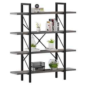 YITAHOME 4 Shelf Bookcase, Classically Rustic Bookshelf, Book Rack, Storage Rack Shelves in Living Room/Home/Office, Books Holder Organizer for Books/Movies