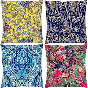 AOKDEER Decorative Floral Throw Pillow Covers Shams Cushion Cover Double-Sided Print Paisley Pattern Room Decor Ethnic Sofa Couch Case 18 x 18 Inches, Set of 4