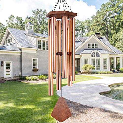 Howarmer Wind Chimes Outdoor Large Deep Tone, 44 Inches Sympathy Wind Chimes Tuned Soothing Melody, Memorial Wind-Chime with 6 Heavy Tubes for Outside Decoration, Garden/Yard. Rose Glod