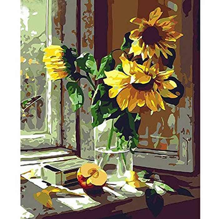 """DIY Paint by Numbers, Canvas Oil Painting Kit for Kids & Adults, Drawing Paintwork with Paintbrushes, Acrylic Pigment,16"""" W x 20"""" L (Sunflower)"""