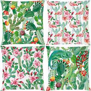 AOKDEER Cactus Flamingo Throw Pillow Cover, Double-Sided Printing Watercolor Spring Pillow Covers Square Outdoor Cushion Covers 18x18 Inches Pillowcases Room Decor, Set of 4
