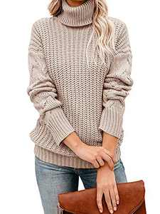 Tutorutor Womens Long Sleeve Chunky Turtleneck Sweaters Oversized Cable Knit Jumper Pullover Beige