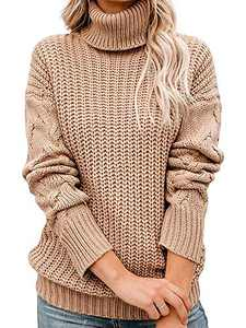 Tutorutor Womens Long Sleeve Chunky Turtleneck Sweaters Oversized Cable Knit Jumper Pullover Khaki