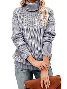 Tutorutor Womens Long Sleeve Chunky Turtleneck Sweaters Oversized Cable Knit Jumper Pullover Gray