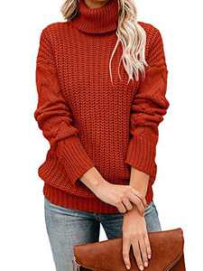 Tutorutor Womens Long Sleeve Chunky Turtleneck Sweaters Oversized Cable Knit Jumper Pullover