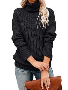 Tutorutor Womens Long Sleeve Chunky Turtleneck Sweaters Oversized Cable Knit Jumper Pullover Black