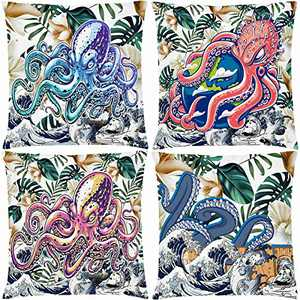 """AOKDEER Gaming Chair Throw Pillow Covers - Square Multicolor Octopus Pillow Case Double-Sided Printing Tropical Leaves Cushion Cover for Sofa Bed Car Couch Room Decor 18"""" x 18"""", Set of 4"""