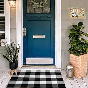 Buffalo Plaid Check Rug Doormat 2' x 3' Black Washable Woven Outdoor Rugs for Layered Door Mats Porch/Kitchen/Farmhouse