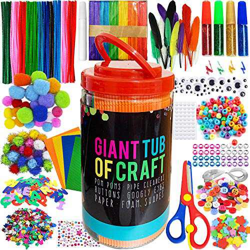 MOISO Mega Kids Crafts and Art Supplies Jar Kit - 560+ Piece Set - Make Bracelets and Necklaces - Plus Glitter Glue, Construction Paper, Colored Popsicle Sticks, Google Eyes, Pipe Cleaners…