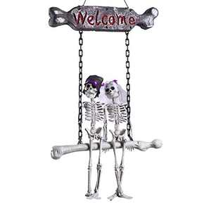 Halloween Decoration Hanging Skeleton, Scary Ghost Bone Bride Groom Welcome Sign Decor for Home Front Door Decorations, Haunted House Halloween Props Outdoor Yard Décor 27.6 * 15.8''