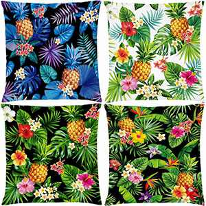 "AOKDEER Square Decorative Pillow Covers, Pineapple Pattern Indoor Outdoor Lumbar Couch Throw Pillow Covers 18"" x18"", Fruits Decorations Farmhouse Pillow Cases for Sleep Living Room Bed Sofa Set of 4"