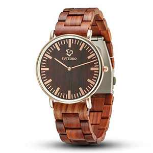 Wooden Watches for Men, JYM Analog Quartz Minimalist Stylish Lightweight Personalized Engraved Wooden Wrist Watch for Men Family Boy Friends Fathers Day Gifts