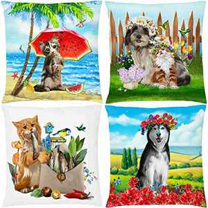 AOKDEER Decorative Chair Throw Pillow Covers Cute Dog and Cat Double Sided Print Summer Animal Theme Pillow Cases Standard Size 18x18 Inch for Sofa Home Decor, Set of 4