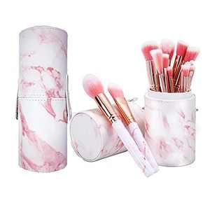 Makeup Brushes With Holder Pot NEVSETPO 15 Piece Stylish Marble Pattern Makeup Brush Sets Full Face Makeup Kits for Foundation Powder Blush Eyeshadow Concealer Lip