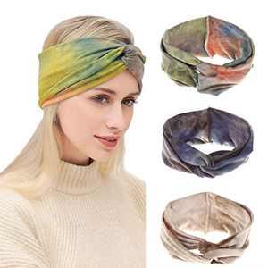 Urieo Boho Criss Cross Headband Tie Dye White Yoga Head Wraps Elastic Wide Twist Sports Head Bands for Women and Girls (Pack of 3)