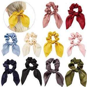 10 PCS Hair Elastics Bunny Ear Scrunchies, Chiffon Hair Scrunchies Ponytail Holder Bow Silk Headband Bobbles Soft Elegant, Hair for Women Accessories