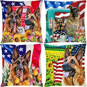 AOKDEER American Flag Patriotic Sunflower Dog Throw Pillow Cover 18 x 18 Set of 4, Double Sided Decorative Pillow Covers German Shepherd Dog Cushion Cover Pillow Cases for Sofa Room Farmhouse Decor