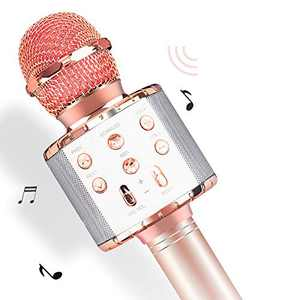 Kowela Wireless Bluetooth Karaoke Microphone with Controllable LED Lights, Portable Handheld Karaoke Speaker Machine Christmas Birthday Home Party for Android/iPhone/PC or All