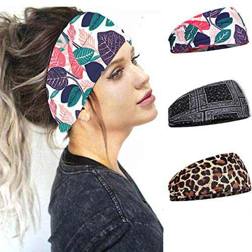 Urieo Elastic Turban Yoga Headbands Black Knot Workout Running Hair Bands Wide Sport Head Wraps for Women and Girls (Pack of 3)