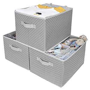 GRANNY SAYS Kid's Fabric Storage Bin Toy Storage Basket, Nursery Storage Box Closet Organizer Bins for living Room, Extra Large, Gray/Beige, 3-Pack