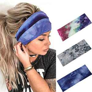 Urieo Yoga Wide Headbands Turban Blue Boho Hair Bands Cotton Stretchy Stylish Head Wraps for Women and Girls (Pack of 3)